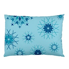 Blue Winter Snowflakes Star Pillow Case (two Sides)