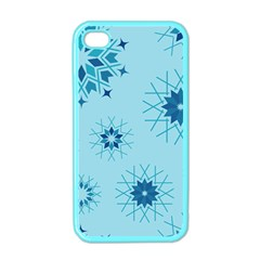 Blue Winter Snowflakes Star Apple Iphone 4 Case (color)