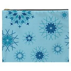 Blue Winter Snowflakes Star Cosmetic Bag (xxxl)