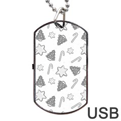 Ginger Cookies Christmas Pattern Dog Tag Usb Flash (two Sides)