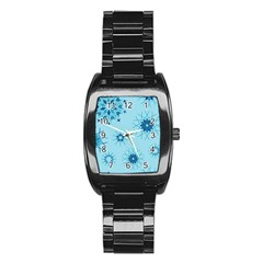Blue Winter Snowflakes Star Stainless Steel Barrel Watch