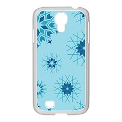 Blue Winter Snowflakes Star Samsung Galaxy S4 I9500/ I9505 Case (white)