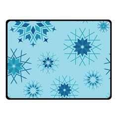 Blue Winter Snowflakes Star Double Sided Fleece Blanket (small)