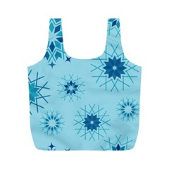 Blue Winter Snowflakes Star Full Print Recycle Bags (m)