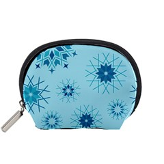 Blue Winter Snowflakes Star Accessory Pouches (small)