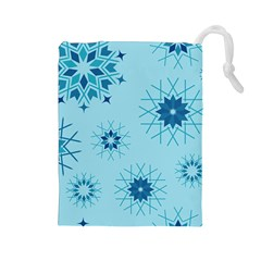 Blue Winter Snowflakes Star Drawstring Pouches (large)