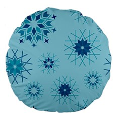 Blue Winter Snowflakes Star Large 18  Premium Flano Round Cushions