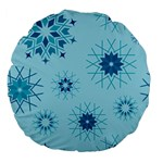 Blue Winter Snowflakes Star Large 18  Premium Flano Round Cushions Back
