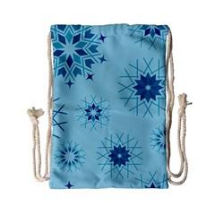 Blue Winter Snowflakes Star Drawstring Bag (small)