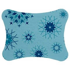 Blue Winter Snowflakes Star Jigsaw Puzzle Photo Stand (bow)