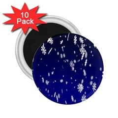 Blue Sky Christmas Snowflake 2 25  Magnets (10 Pack)