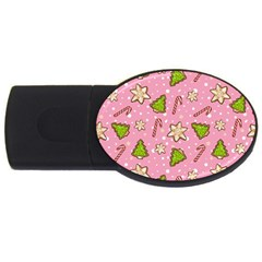 Ginger Cookies Christmas Pattern Usb Flash Drive Oval (4 Gb)