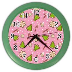 Ginger Cookies Christmas Pattern Color Wall Clocks