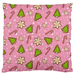 Ginger Cookies Christmas Pattern Large Flano Cushion Case (two Sides)