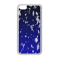 Blue Sky Christmas Snowflake Apple Iphone 5c Seamless Case (white)