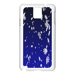 Blue Sky Christmas Snowflake Samsung Galaxy Note 3 N9005 Case (white)