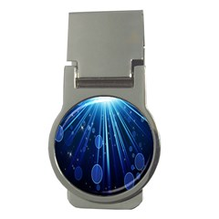 Blue Rays Light Stars Space Money Clips (round)