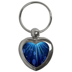 Blue Rays Light Stars Space Key Chains (heart)