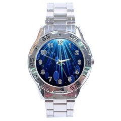 Blue Rays Light Stars Space Stainless Steel Analogue Watch