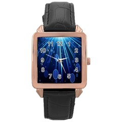 Blue Rays Light Stars Space Rose Gold Leather Watch