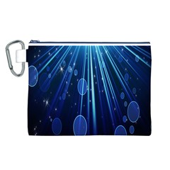 Blue Rays Light Stars Space Canvas Cosmetic Bag (l)