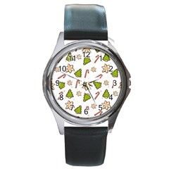 Ginger Cookies Christmas Pattern Round Metal Watch