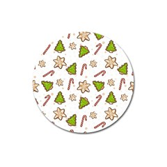 Ginger Cookies Christmas Pattern Magnet 3  (round)