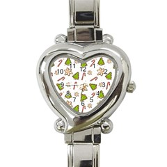 Ginger Cookies Christmas Pattern Heart Italian Charm Watch