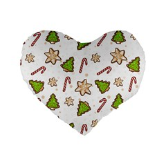 Ginger Cookies Christmas Pattern Standard 16  Premium Heart Shape Cushions