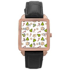Ginger Cookies Christmas Pattern Rose Gold Leather Watch