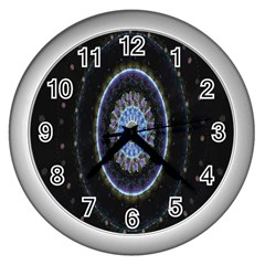 Colorful Hypnotic Circular Rings Space Wall Clocks (silver)