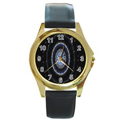 Colorful Hypnotic Circular Rings Space Round Gold Metal Watch