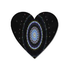 Colorful Hypnotic Circular Rings Space Heart Magnet