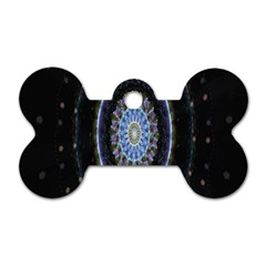 Colorful Hypnotic Circular Rings Space Dog Tag Bone (one Side)