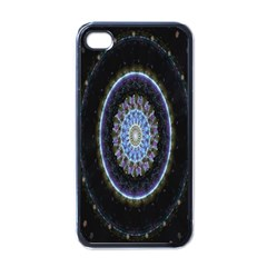 Colorful Hypnotic Circular Rings Space Apple Iphone 4 Case (black)