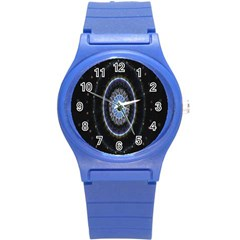 Colorful Hypnotic Circular Rings Space Round Plastic Sport Watch (s)