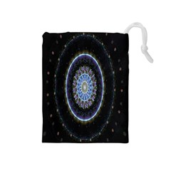 Colorful Hypnotic Circular Rings Space Drawstring Pouches (medium)