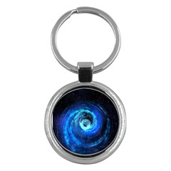 Blue Black Hole Galaxy Key Chains (round)