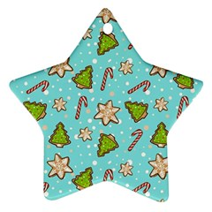 Ginger Cookies Christmas Pattern Star Ornament (two Sides)