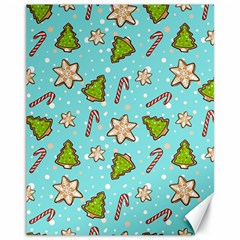 Ginger Cookies Christmas Pattern Canvas 11  X 14