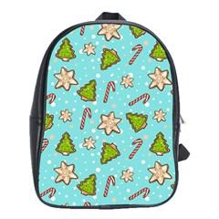 Ginger Cookies Christmas Pattern School Bag (large)