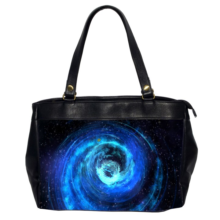 Blue Black Hole Galaxy Office Handbags (2 Sides)