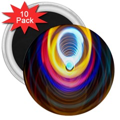 Colorful Glow Hole Space Rainbow 3  Magnets (10 Pack)