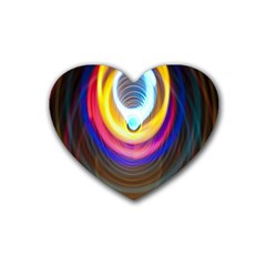 Colorful Glow Hole Space Rainbow Rubber Coaster (heart)