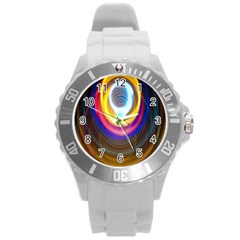 Colorful Glow Hole Space Rainbow Round Plastic Sport Watch (l)