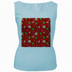 Ginger Cookies Christmas Pattern Women s Baby Blue Tank Top