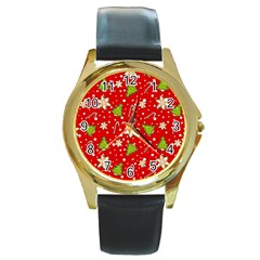 Ginger Cookies Christmas Pattern Round Gold Metal Watch