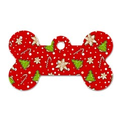 Ginger Cookies Christmas Pattern Dog Tag Bone (one Side)