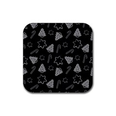 Ginger Cookies Christmas Pattern Rubber Square Coaster (4 Pack)