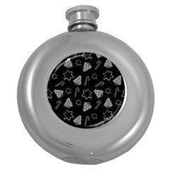 Ginger Cookies Christmas Pattern Round Hip Flask (5 Oz)
